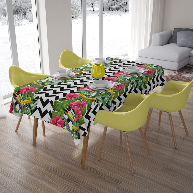 Tablecloth Tropical Leaves and Hibiscus Flowers - Wellmira