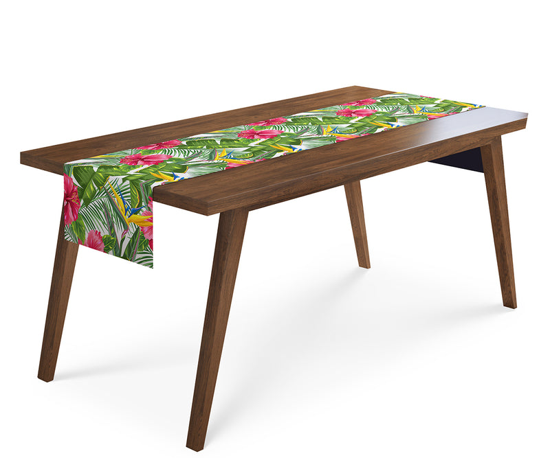 Table Runner Tropical Leaves and Strelitzia - Wellmira