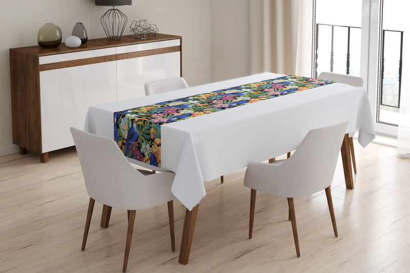 Table Runner Awesome Watercolor Parrots - Wellmira