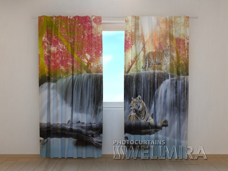 3D Curtain Tigers at the Autumn Waterfall - Wellmira