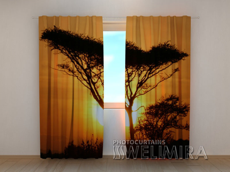 3D Curtain Tree at Sunset - Wellmira