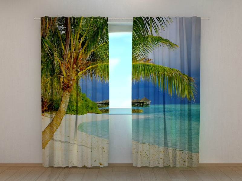 Photo Curtain Tropical Beach with Palms