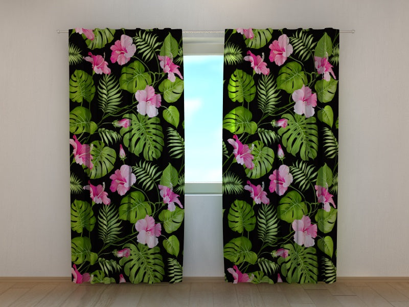 Photocurtain Tropical Flowers on the Black - Wellmira