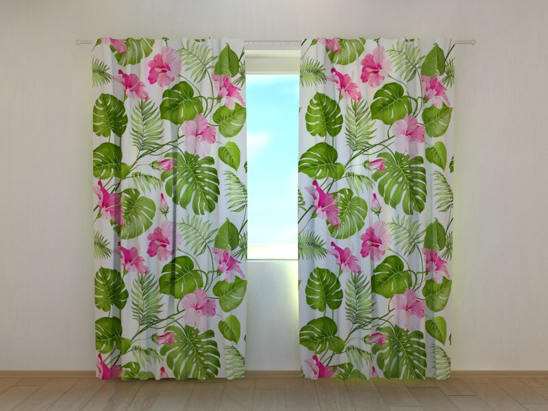 Photocurtain Tropical Flowers on the White - Wellmira