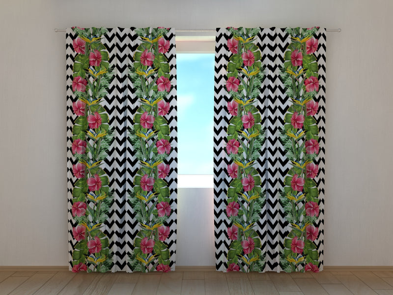 Photocurtain Tropical Leaves and Hibiscus Flowers - Wellmira