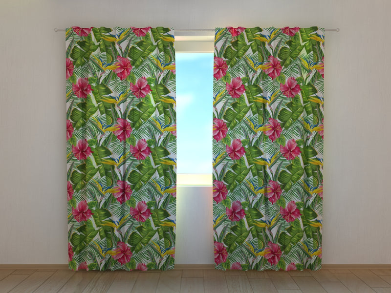Photocurtain Tropical Leaves and Strelitzia - Wellmira