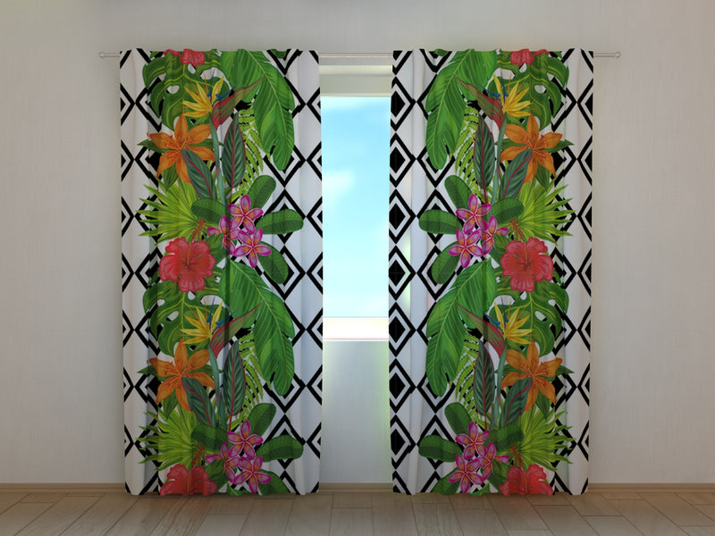 Photocurtain Tropical Plants and Rhombus - Wellmira