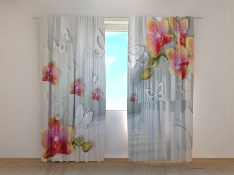 Photo Curtain Tunnel with Orchids and Butterflies