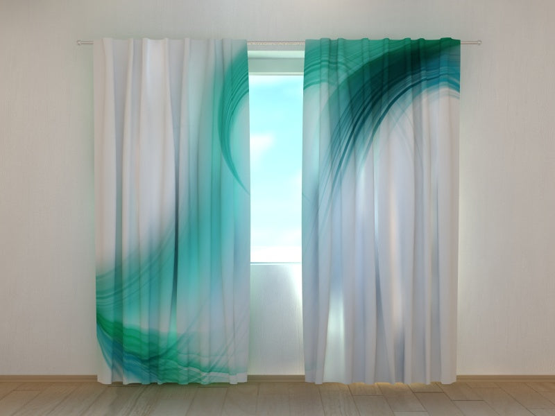 Photo Curtain Turquoise Abstraction