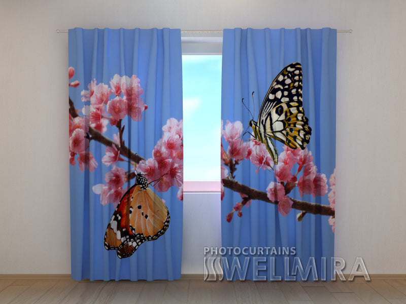 3D Curtain Two Butterflies - Wellmira