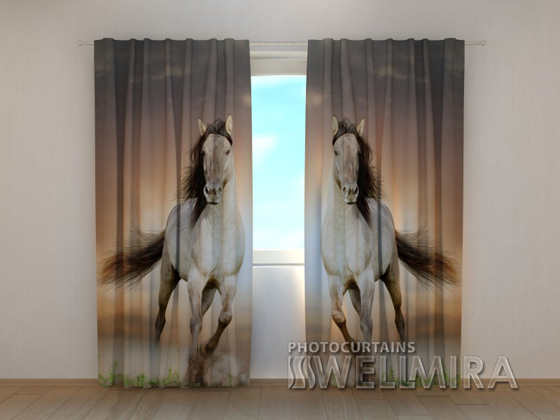 3D Curtain Two Horses - Wellmira