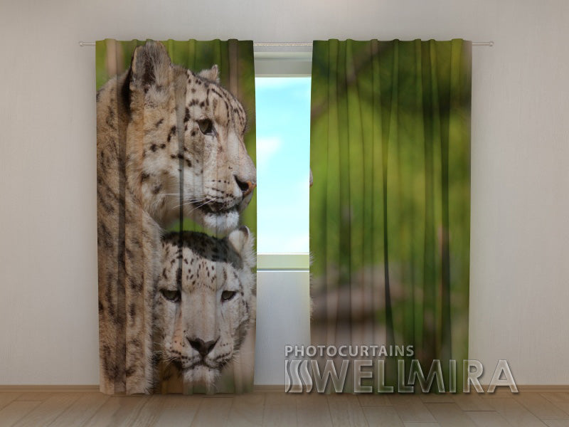 3D Curtain Two Leopards - Wellmira