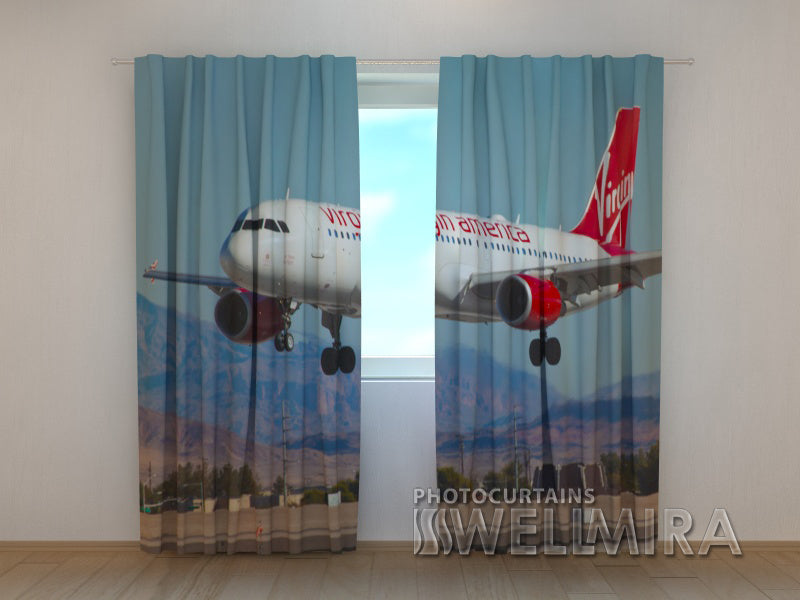 3D Curtain Virgin America Plane - Wellmira