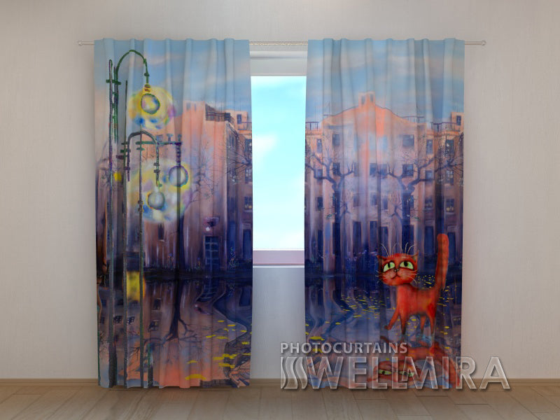 3D Curtain Watercolor Cat - Wellmira