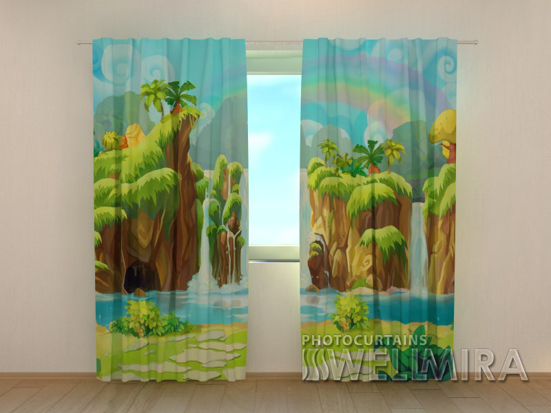 3D Curtain  Waterfall and Rainbow - Wellmira