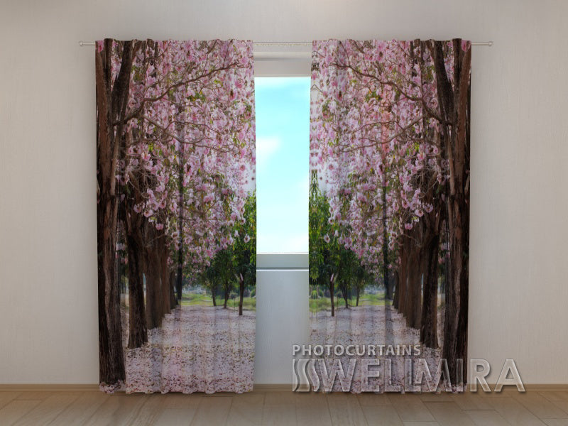 Photo Curtain Wayside Trees in Petals - Wellmira