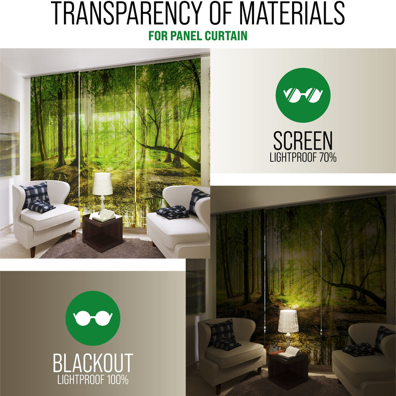 Set of 6 Panel Curtains Waterfall in Forest Jungle