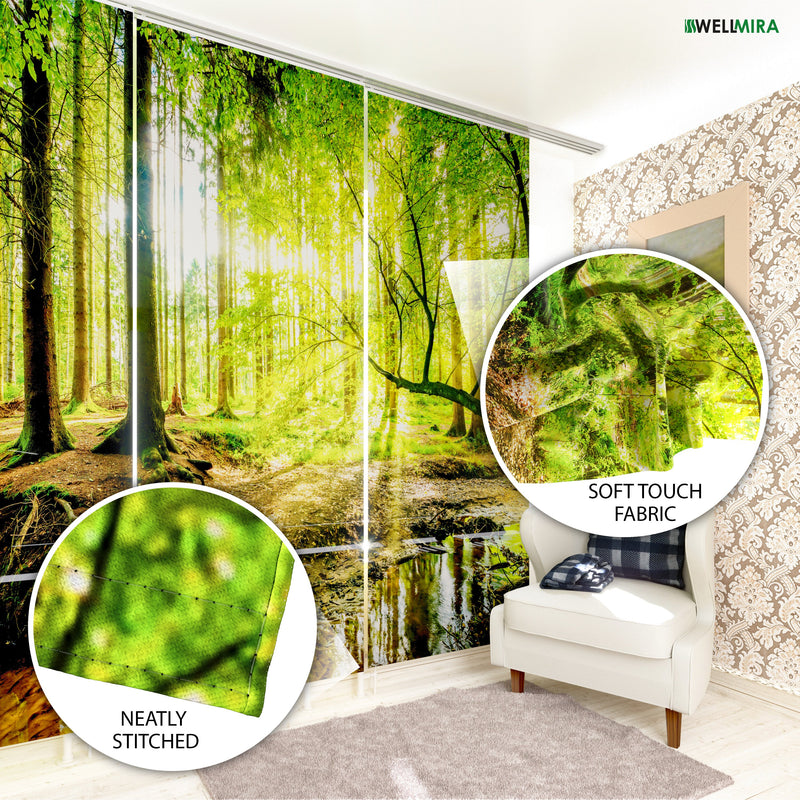 Set of 6 Panel Curtains Waterfall in spring Forest