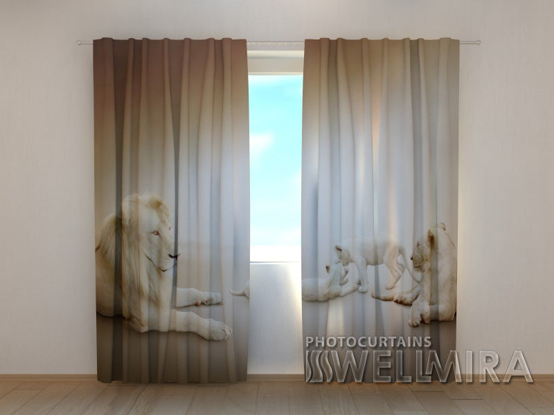 3D Curtain White Lions - Wellmira