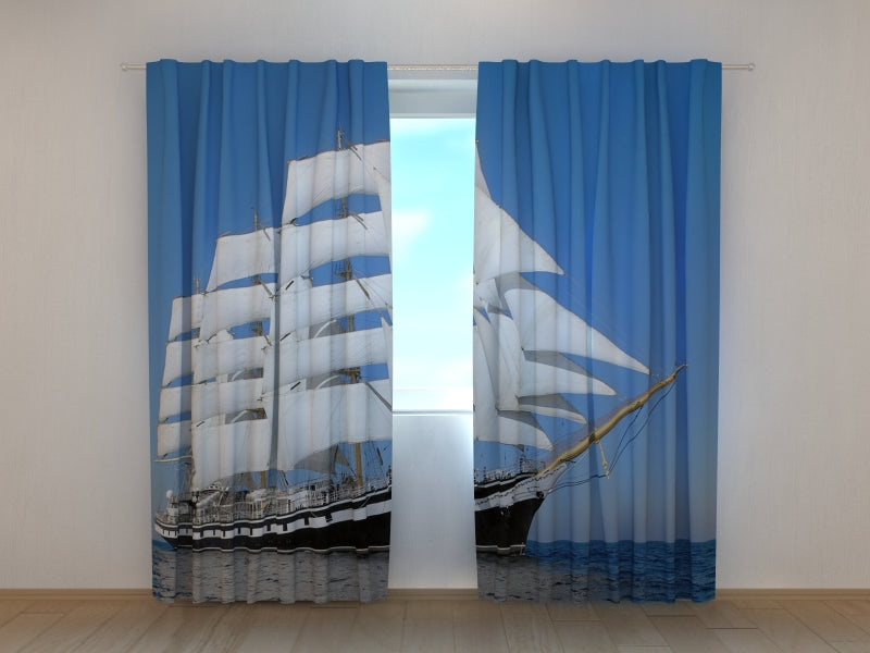 Photo Curtain White Sailing-ship