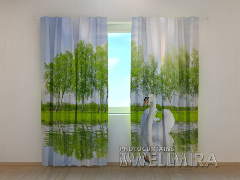3D Curtain White Swan - Wellmira