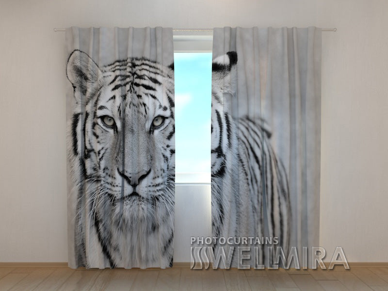 3D Curtain White Tiger - Wellmira