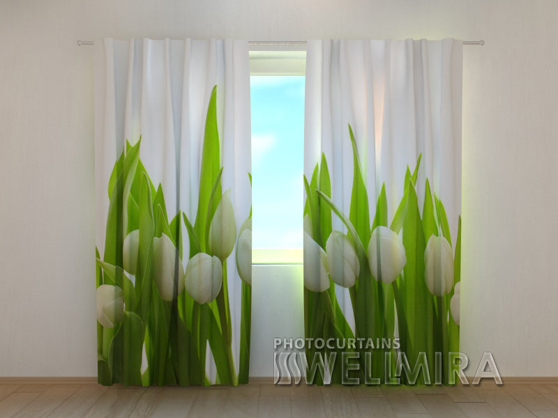 Photo Curtain White Tulips - Wellmira