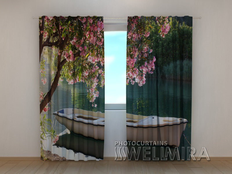 Photo Curtain White Boat - Wellmira