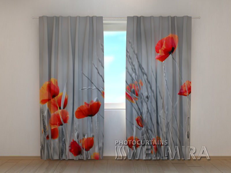 3D Curtain Wild Poppies - Wellmira