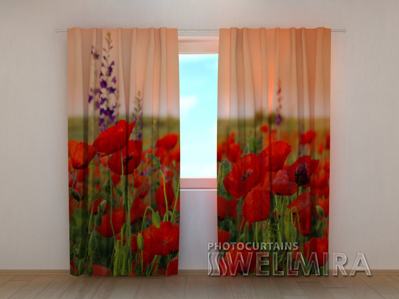 3D Curtain Wonderful Poppies - Wellmira