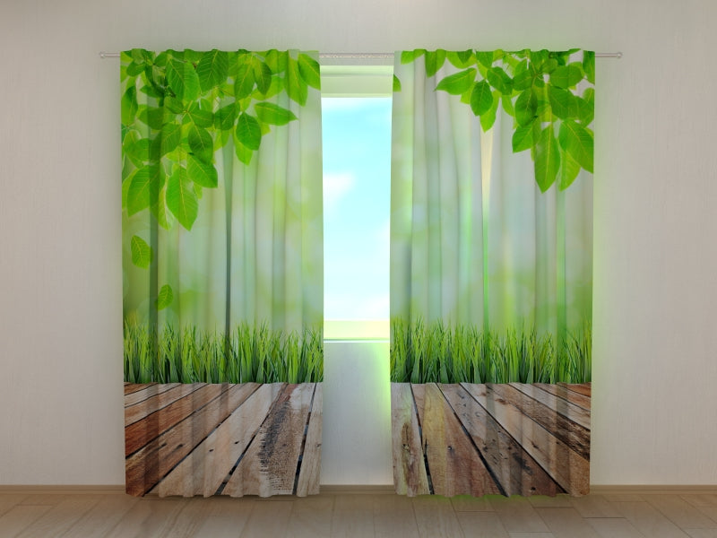 Photo Curtain Wooden Walkway to Nature