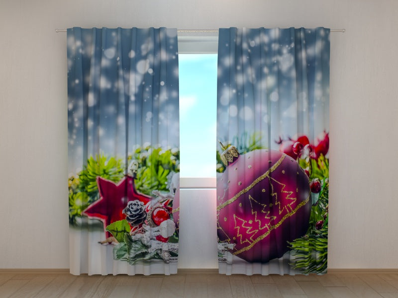 Photocurtain Xmas Decorations with Snow - Wellmira