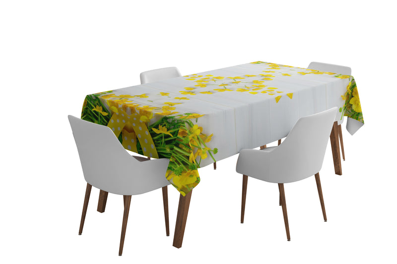 Tablecloth Yellow flowers on the white 2 - Wellmira