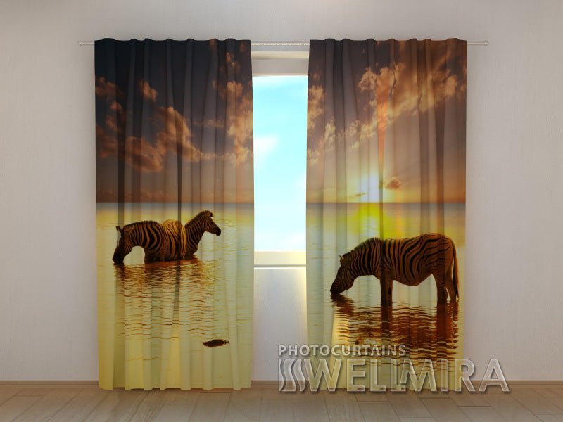 3D Curtain Zebras by the Water - Wellmira