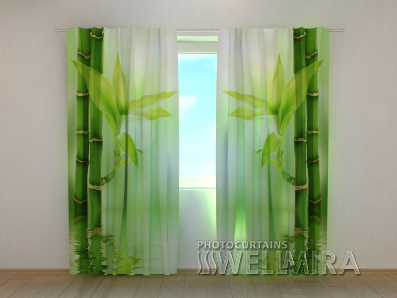 Photo Curtain Green Bamboo