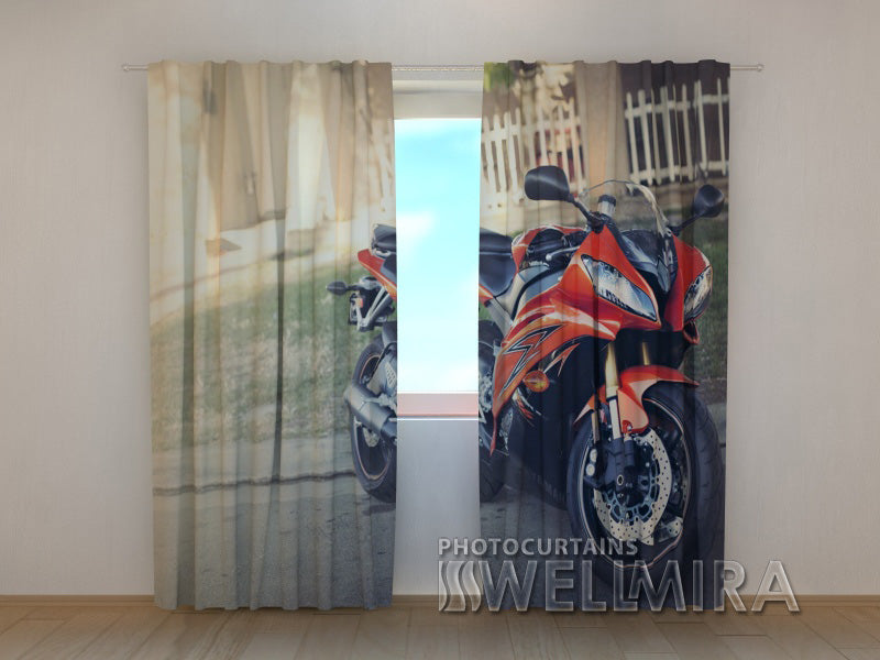 3D Curtain Red Motorсycle - Wellmira