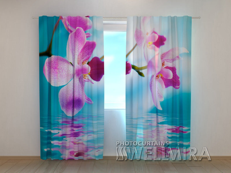 Photocurtain Skyblue Orchids - Wellmira