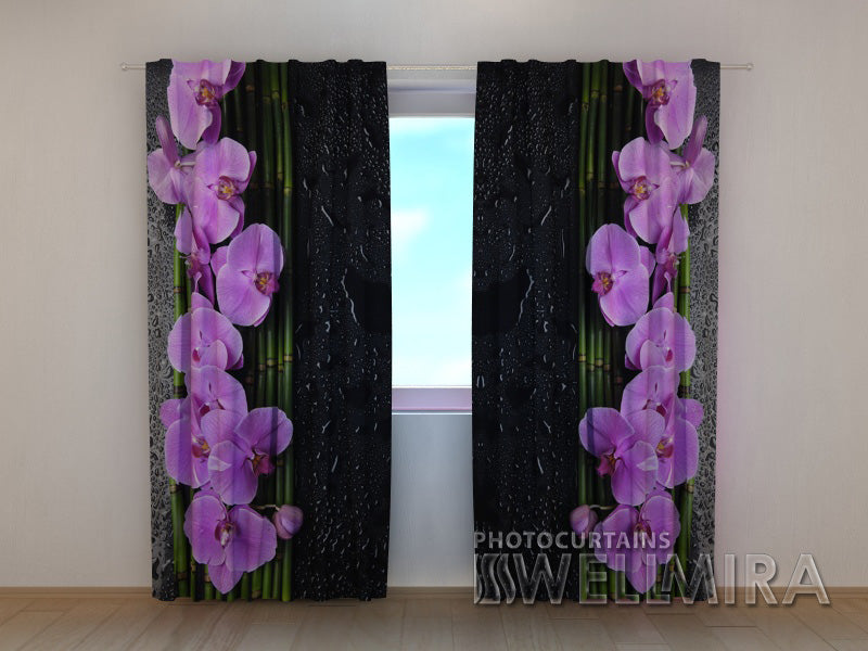 Photocurtain Orchids on Black - Wellmira