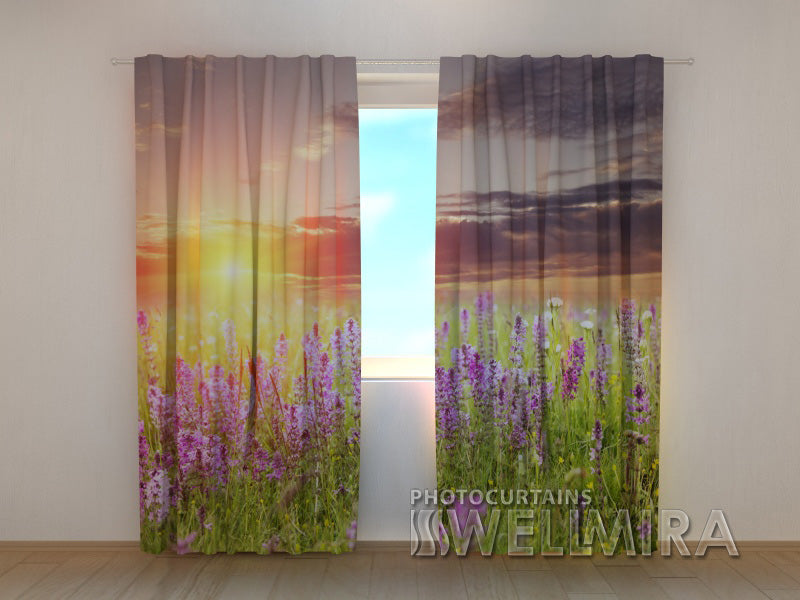 Photo Curtain Sunset over Meadow - Wellmira