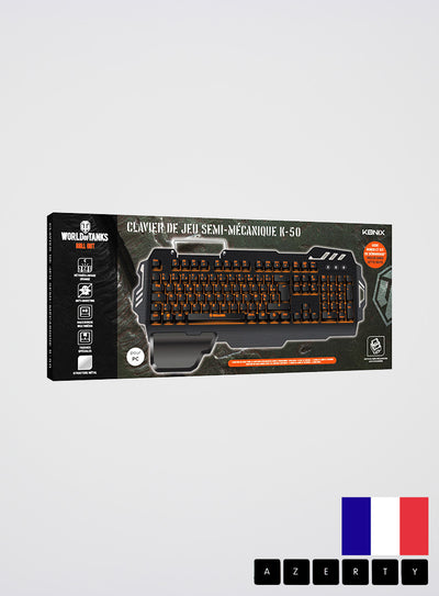 World of Tanks KONIX K-50 S/MK Semi-Mechanical Keyboard French AZERTY layout