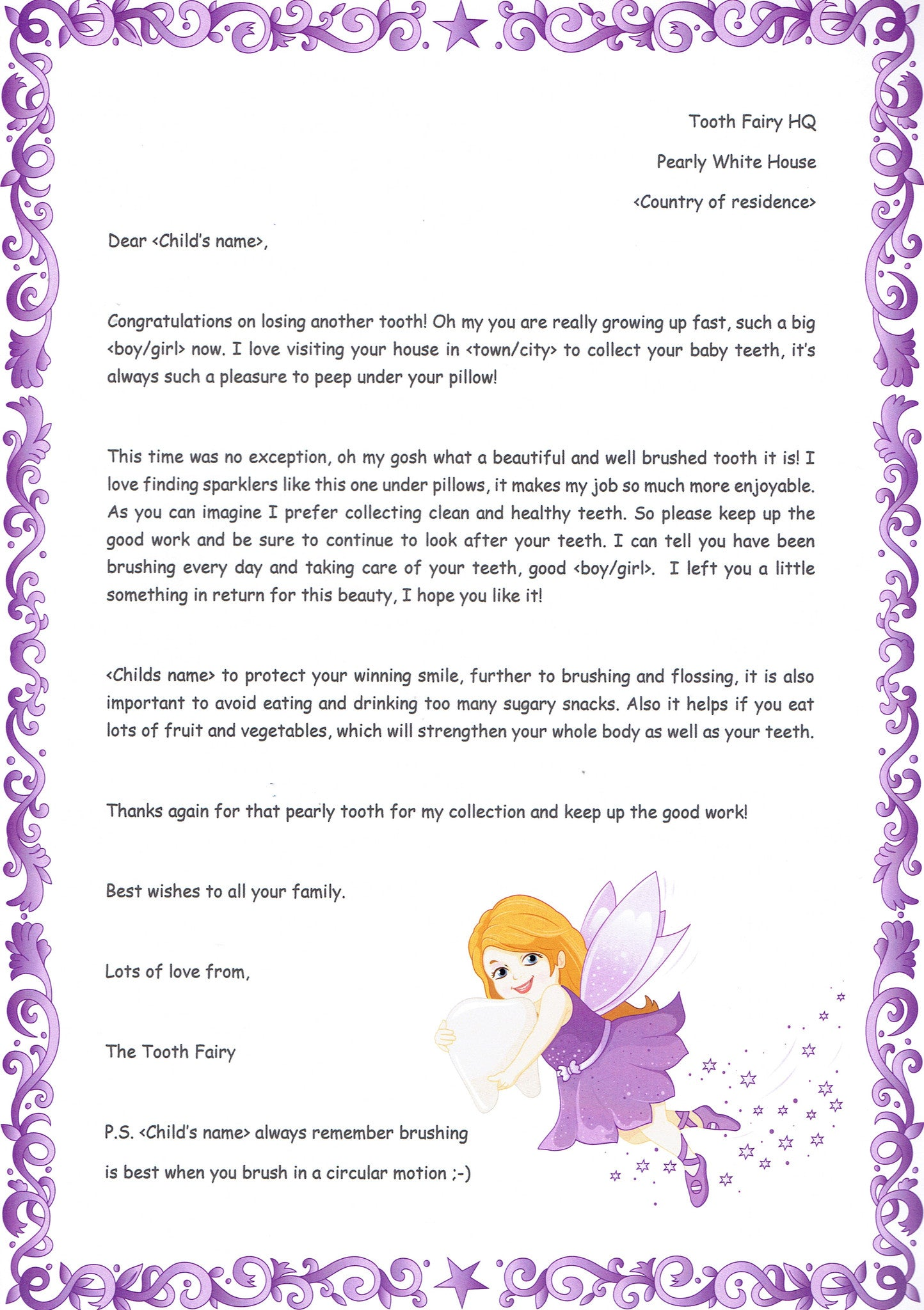Thank You For The Tooth The Letter Fairy