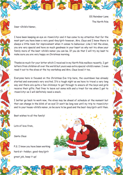 Santa – Received your letter