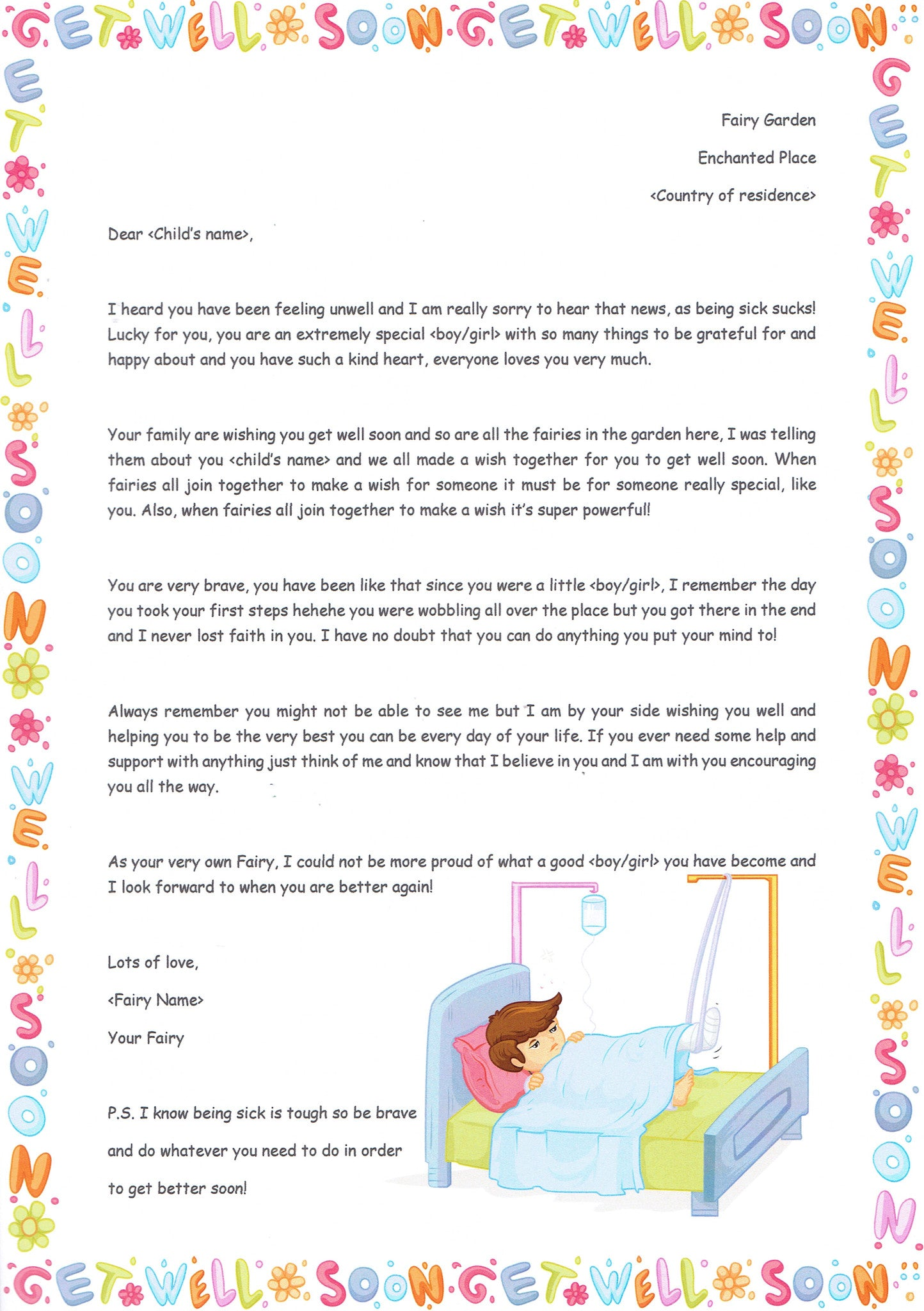 Get Well Soon Letter | The Letter Fairy