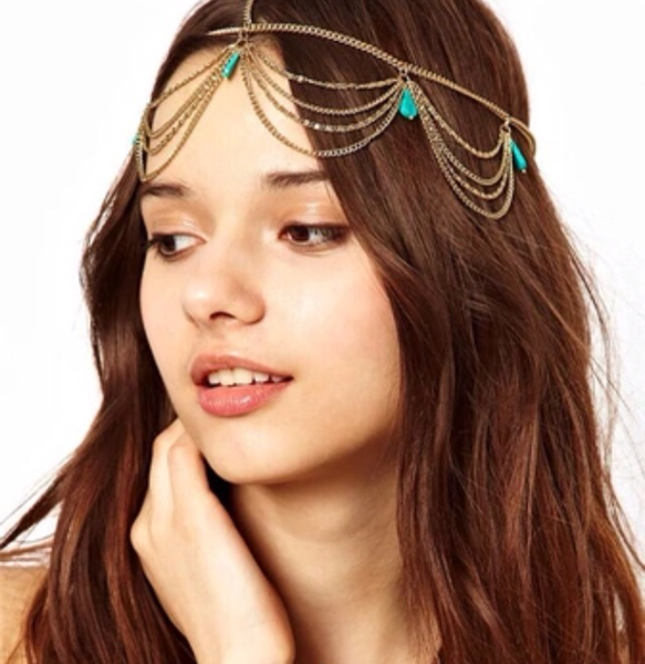 Turquoise Beaded Headpiece