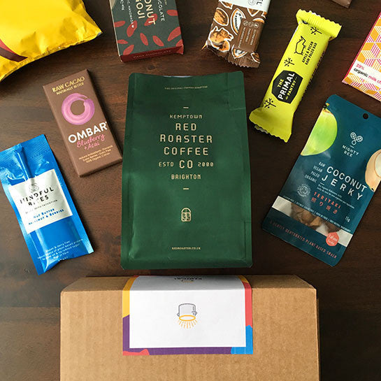 Coffee, chocolate and healthy snacks subscription box by Ethical Kitchen