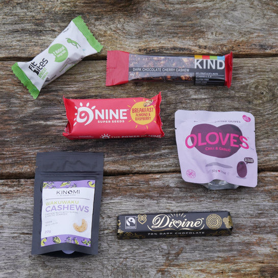 Chocolate and healthy snack bars subscription box by Ethical Kitchen