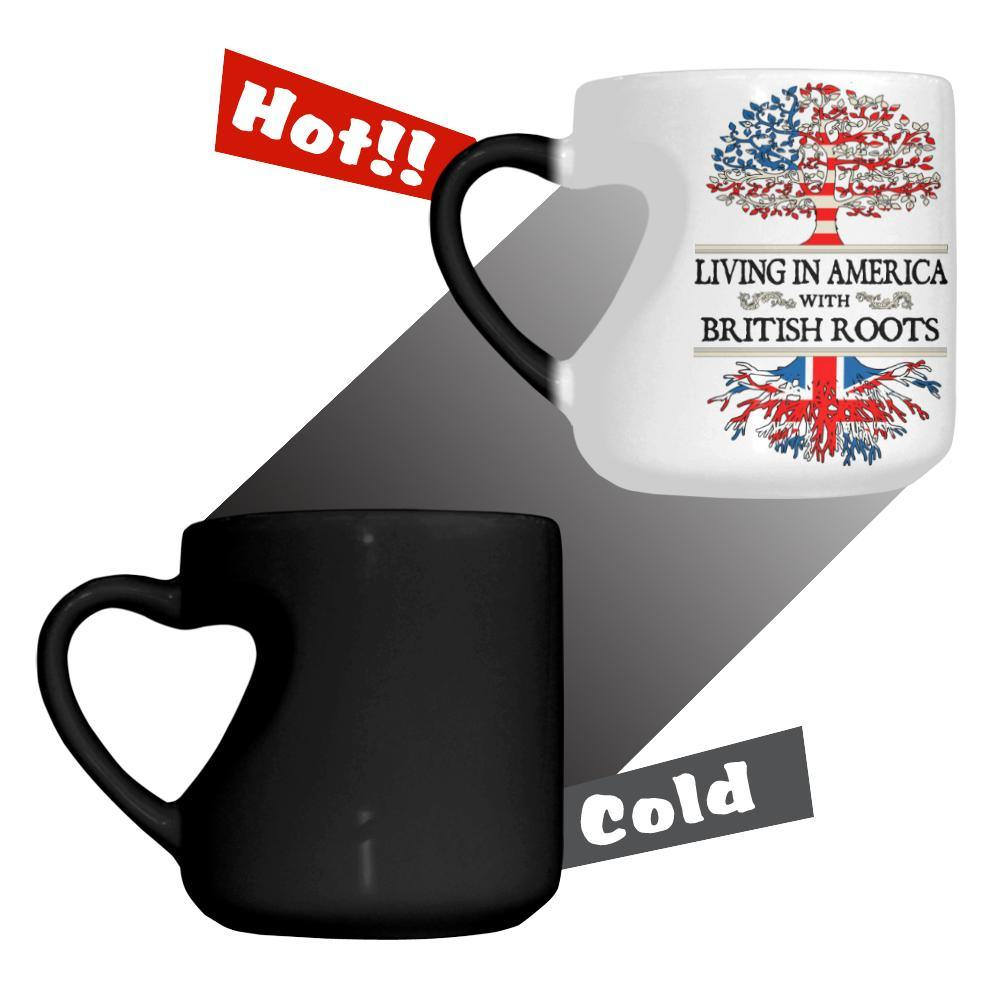 American British Heart-shaped Color Changing Mug