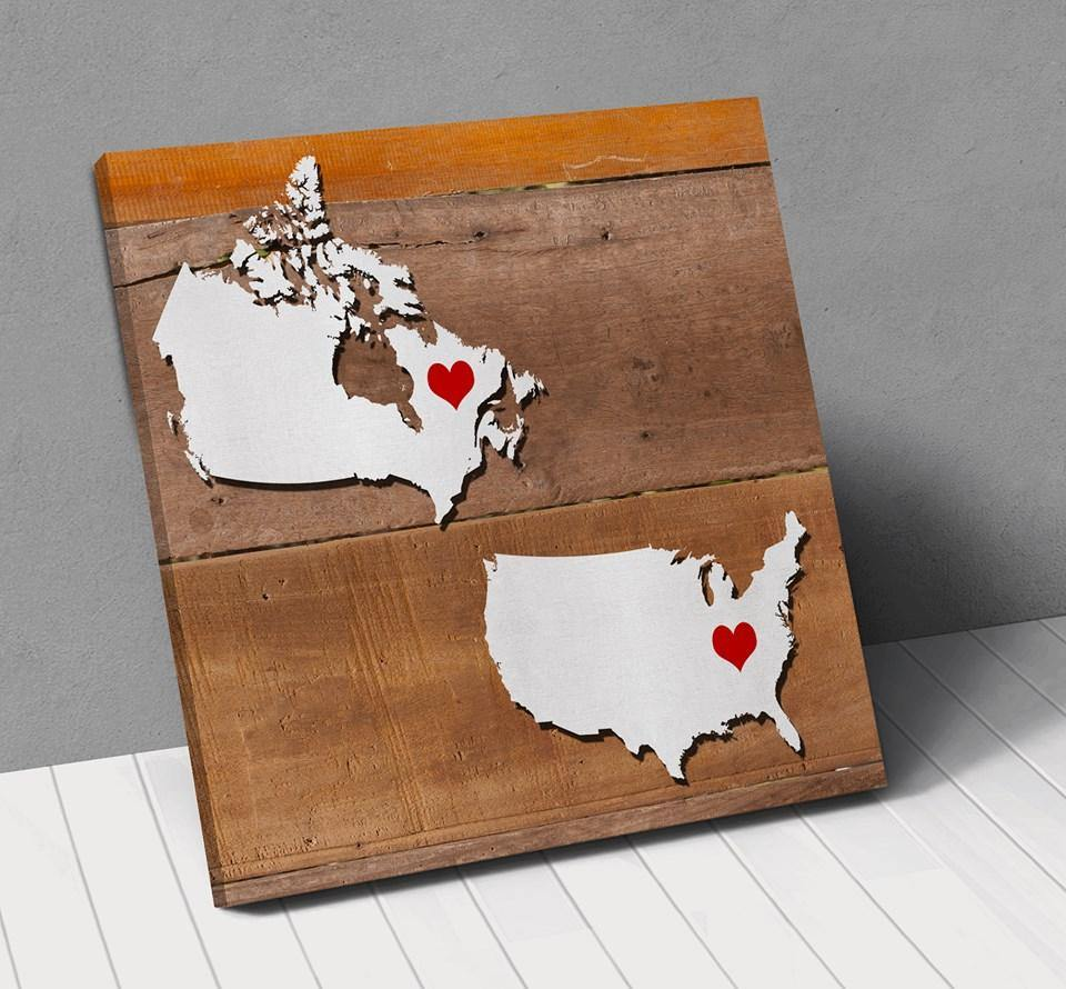Canada USA Map Personalized City Hearts Canvas Wall Art !