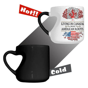 Living in Canada With American Roots Heart Colour Changing Mug