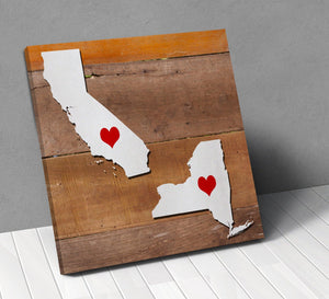 States Personalized City Hearts Canvas Wall Art !